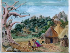 V MOSTERT SOUTH AFRICAN AFRIKANER c.1950 VILLAGE BAOBAB TREE FIGURES PAINTING