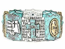 4031597 Lord's Prayer Stretch Bracelet Our Father Multi Color Cross Christian...