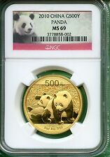 CHINA 2010 PANDA GOLD  ONE OZ  NGC MS 69   500 YUAN   .999 AU