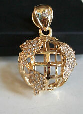 Designer Style Gold Finish Hip Hop Bling 3D Style Small Globe Fashion Pendant