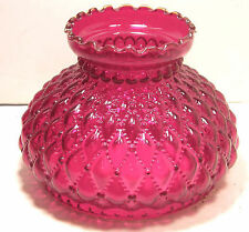 VINTAGE RUBY RED GLASS DIAMOND QUILTED OIL PARLOR STUDENT LAMP SHADE FENTON