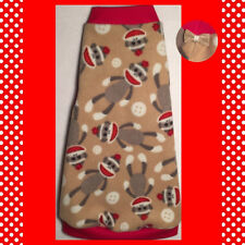 "Tan and Red Sock Monkey Fleece ""Cute and Comfy"" Cat Clothes Sphynx Hairless Cats"