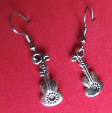 VIOLIN   EARRINGS  TIBET SILVER, EAR WIRE STAINLESS STEEL