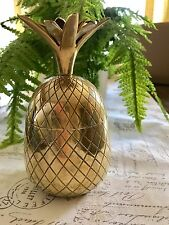"""VINTAGE BRASS PINEAPPLE ICE BUCKET, CANDLE HOLDER 7"""" TALL SOLID BRASS"""