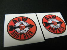 "7/8"" PAIR CUSTOM ICE COLD A&W ROOTBEER RETRO COLA SODA PEEL-N-STICK TOY DECALS"