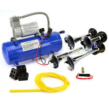 4 Trumpet Vehicle Air Horn / 12 Volt Compressor & Hose 150 dB Train 120 PSI Kit