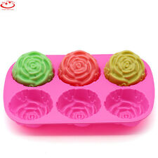 Cake Mold Soap Mold 6-Cavity Rose Flower Silicone Mould For Candy Chocolate