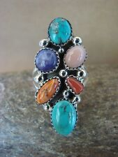Navajo Indian Jewelry Sterling Silver 6 Stone Multi Gemstone Ring, Size 10.5