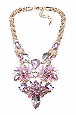 'EMPRESS' GOLD METAL, MIXED PINK & CLEAR GEM MEGA STATEMENT NECKLACE (CL29)