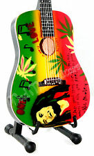 Miniature Guitar BOB MARLEY free stand.rasta reggae legend One Love acoustic