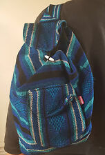 Mexican backpack blue black & aqua multicolor Woven Very Durable Large washable