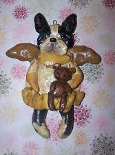 FolkArt Whimsical Boston Terrier Dog  Angel Ornament  Nostalgic Vintage Ooak