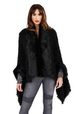 Black Poodle Faux Fur Poncho Cape Wrap Coat Fur Collar & Cuff Detail One Size