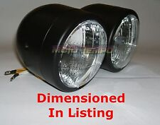 "MATT BLACK TWIN 4 1/5"" HEADLAMPS DOMINATOR HEADLIGHT UK & N.IRELAND MOT SPEC"