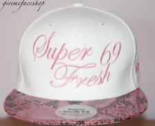 Super Fresh snakeskin Snapback, white hip flat peak fitted hats bling/baseball