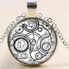 "Dr Who Time Lord Seal, Steampunk Silver / Grey  Necklace Pendant.30"" chain"
