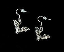 BUY 3 GET 1 FREE~SILVER BAT VAMPIRE DANGLE EARRINGS~SCARY SPOOKY HALLOWEEN GIFT