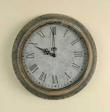 Primitive/Cottage/Country Light Gray Galvanized Decor Clock