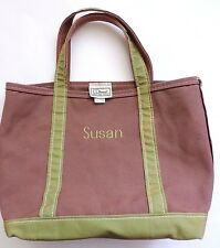 LL Bean Small Custom Boat and Tote Brown Green Monogrammed Susan Made in USA