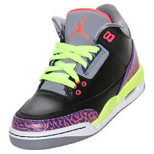 Girls Nike Air Jordan 3 Retro GS SZ 6Y Black Atmoic Joker Purple 441140-039