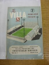27/02/1960 Aston Villa v Sheffield United  (Creased, Folded, Worn, Marked). Than
