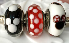 3 picec  Authentic Pandora 925 silver murano bead charm  Disney minnie mickey  b