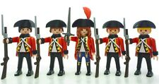 Playmobil 5 cavalerie soldats gardes militaires tuniques rouges épées britannique armée française