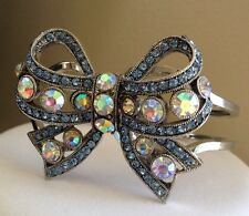 Betsey Johnson Silver Bow Blue Rhinestone Statement Bracelet