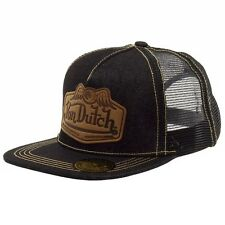 Von Dutch Men's Leather Patch Black/Tan Trucker Cap Hat (One Size Fits Most)