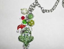 "New Mr. Grinch Christmas Kawaii Rhinestone Necklace 22"" Long  Limited Quantity"