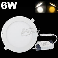 Super Bright Slim 6W LED Recessed Ceiling Round Panel Down Light Lamp + Driver