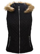 Damen Weste Steppweste Damenjacke mit Kapuze Fell Kunstpelz Damenweste D51 S-XL