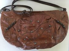CARLO FIORI ITALY  BROWN TEXTURED STUDDED LEATHER PURSE