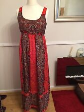 Long Sleeveless Maxi Dress Multi Orange Patterned Floral 12
