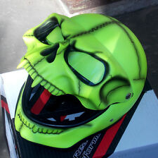 Motorcycle Helmet Skull Skeleton MONSTER Flip Up Ghost Visor Shield Full Face