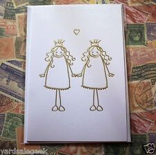 ORDNING & REDA PRINCESS Girls Love Wedding Greeting Card - Gold LGBT