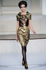 OSCAR DE LA RENTA RUNWAY SILK BLEND GOLD DRESS  2009 FALL COLLECTION Sz 6