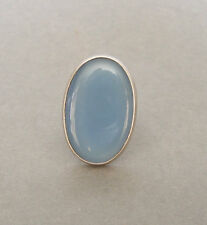 Art Deco silver & sky blue chalcedony ring. Dutch