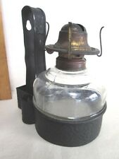 "Vintage GLASS Oil LAMP & TIN Wall HOLDER,Primitive,MATCH HOLDERS,7 1/4""H.,C.1860"