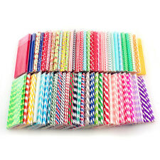 25X Striped Paper Drinking Straw Rainbow Mixed Color Home Wedding Party