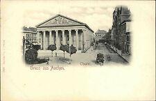 AACHEN um 1900 Litho-AK Strassen Partie am Theater mit Pferde-Fuhrwerk alte AK
