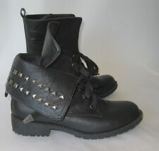 Black ankle Lace stud  Rugged Military Combat Motorcycle Riding boot Size  8.5