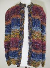 Neiman Marcus Cardigan Sweater multicolor hand knit wool bld made in Italy M