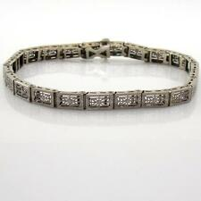 "Vintage Antique 14K White Gold Art Deco Nouveau Filigree Bracelet 7.25"" A2"