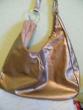 QUEEN by QUEEN LATIFAH METALLIC COPPER/GOLD LARGE  HOBO BAG ..LINED