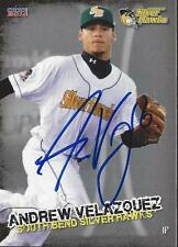 Andrew Velazquez 2014 South Bend Silver Hawks Signed Card