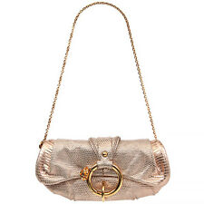 36550 auth TOD'S metallic pink SNAKESKIN Shoulder Bag / Clutch