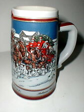 Budweiser Beer Cylesdale Christmas Holiday Stein 1989 (loc-up-st)