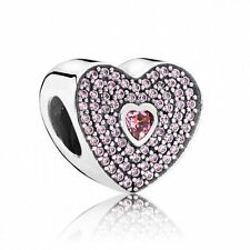 PANDORA Sweet Heart Charm 791555CZS Silver and Pink Zirconia Genuine Authentic