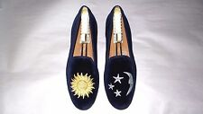 "SO CUTE! $450 Stubbs and Wootton Blue Velvet ""DAY N NIGHT"" Slippers Loafers Shoe"